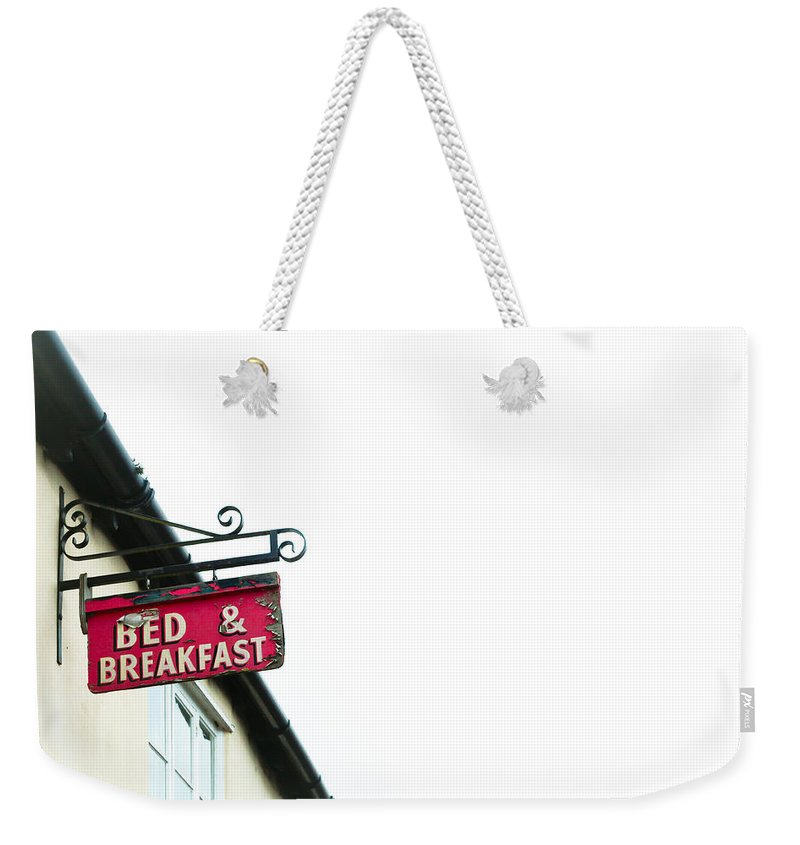 Background Weekender Tote Bag featuring the photograph Bed And Breakfast by Tom Gowanlock