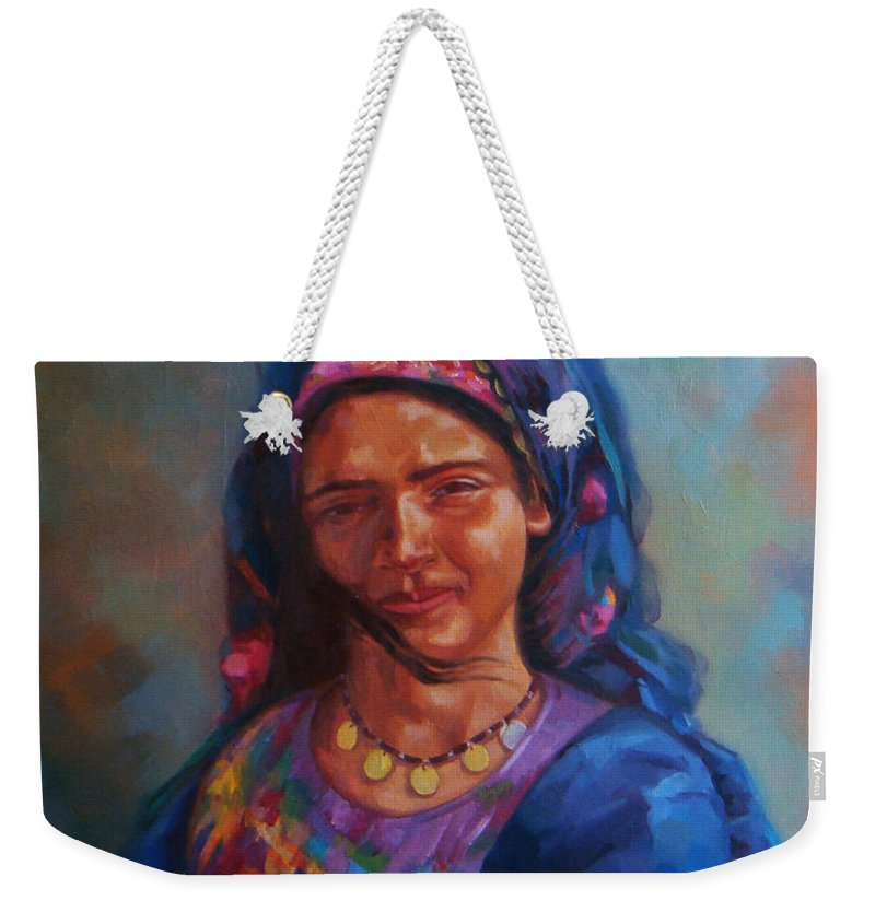 Impressionism Weekender Tote Bag featuring the painting Bedouin Woman by Ahmed Bayomi