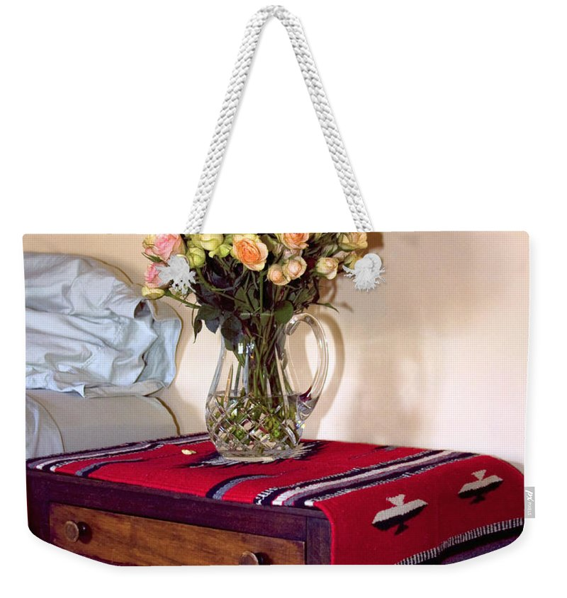 Still Life Weekender Tote Bag featuring the photograph Bedside Desert Roses Palm Springs by William Dey