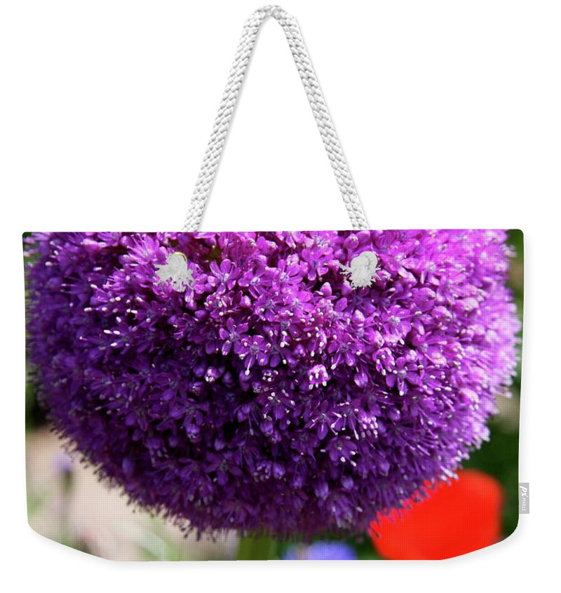 Allium Weekender Tote Bag featuring the photograph Bee Catcher by Christiane Schulze Art And Photography