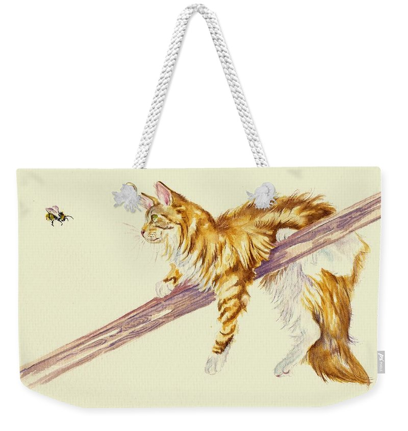Calico Cat Cats Kitten Kittens Bumble Bee Rustic Cute Fluffy Pet Pets Feline Felines Ginger Long-haired Children's Debra Hall Greypepperart Funny Weekender Tote Bag featuring the painting Bee Determined by Debra Hall