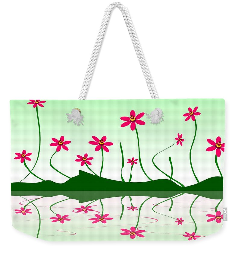 Abstract Weekender Tote Bag featuring the digital art Bee Flowers by Anastasiya Malakhova