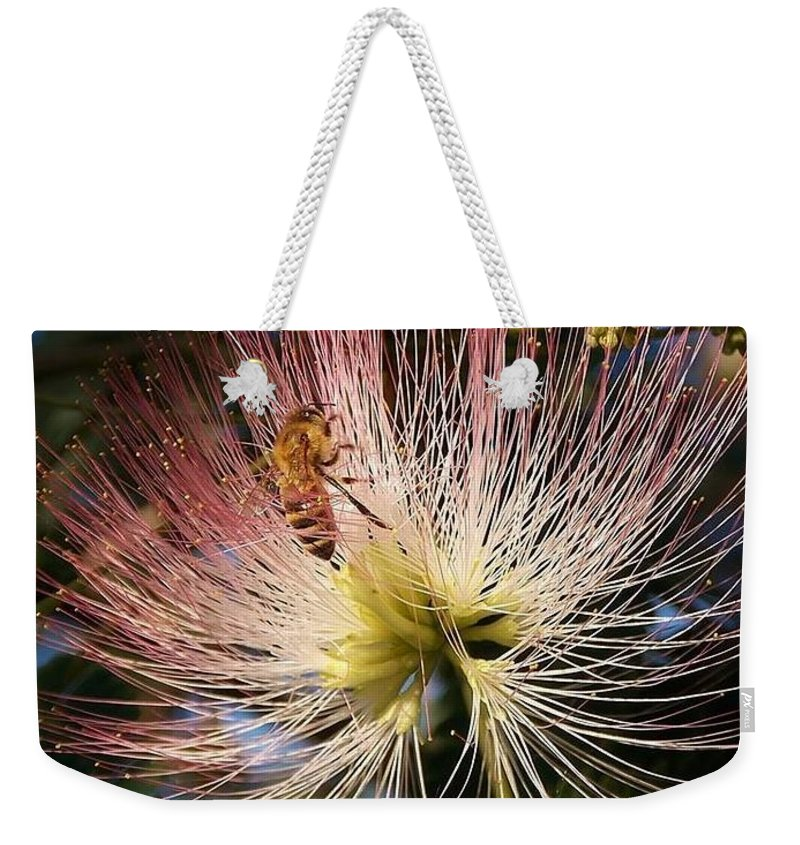 Postcard Weekender Tote Bag featuring the digital art Bee Patient by Matthew Seufer