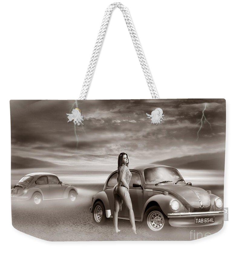 Volkswagen Weekender Tote Bag featuring the digital art Beetles At The Beach by Linton Hart
