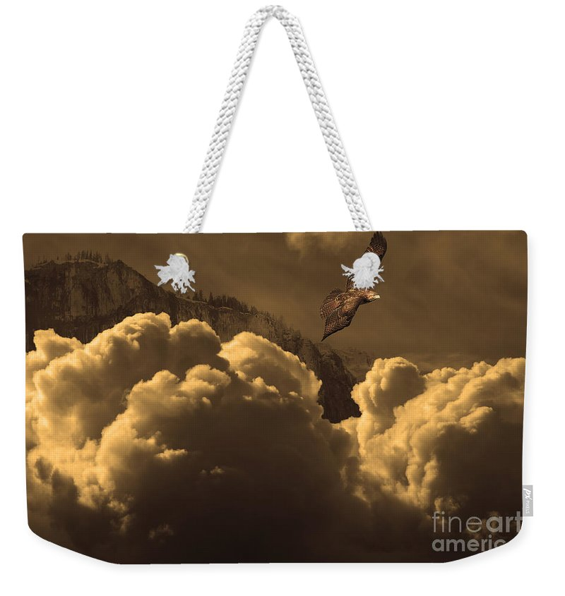 Wingsdomain Weekender Tote Bag featuring the photograph Before Memory . I Have Soared With The Hawk by Wingsdomain Art and Photography
