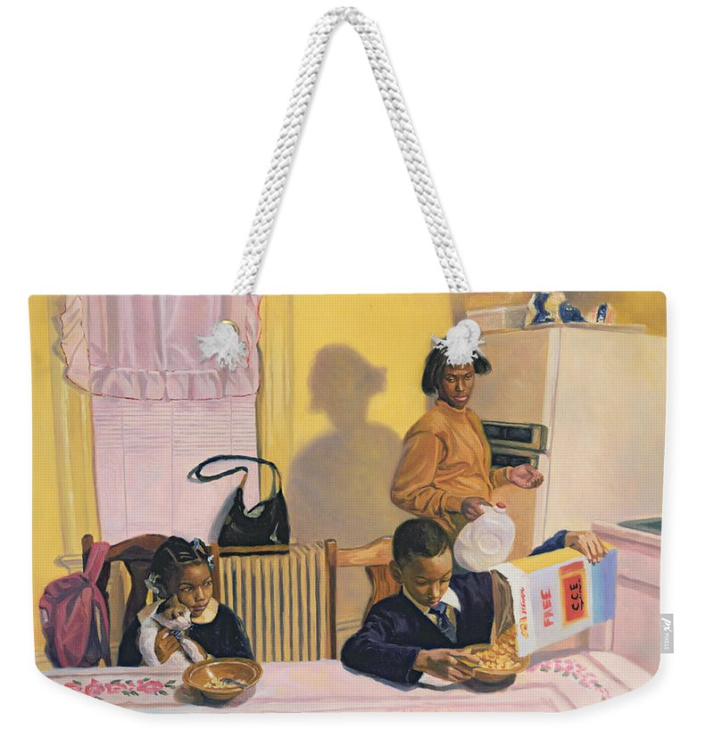 Breakfast Weekender Tote Bag featuring the painting Before School by Colin Bootman