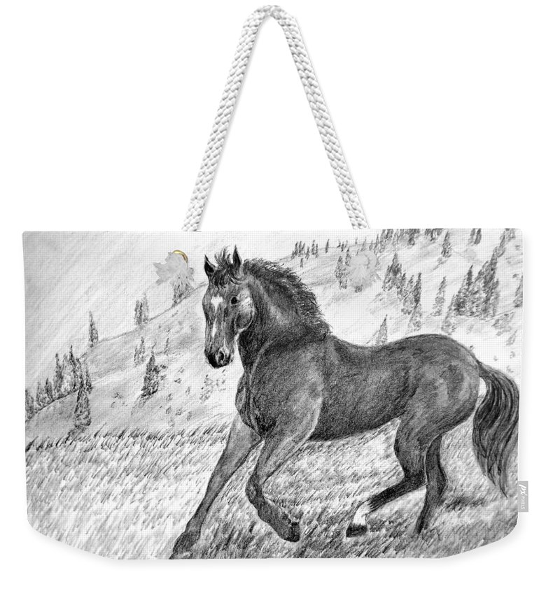Horse Weekender Tote Bag featuring the drawing Before The West Was Won by Shelley Blair