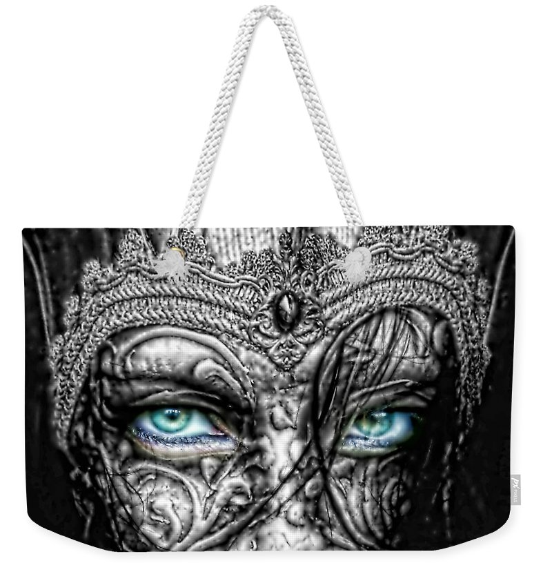 Behind Blue Eyes Weekender Tote Bag featuring the photograph Behind Blue Eyes by Mo T