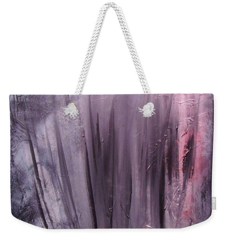 Abstract Weekender Tote Bag featuring the painting Behind shadows by Sergey Bezhinets