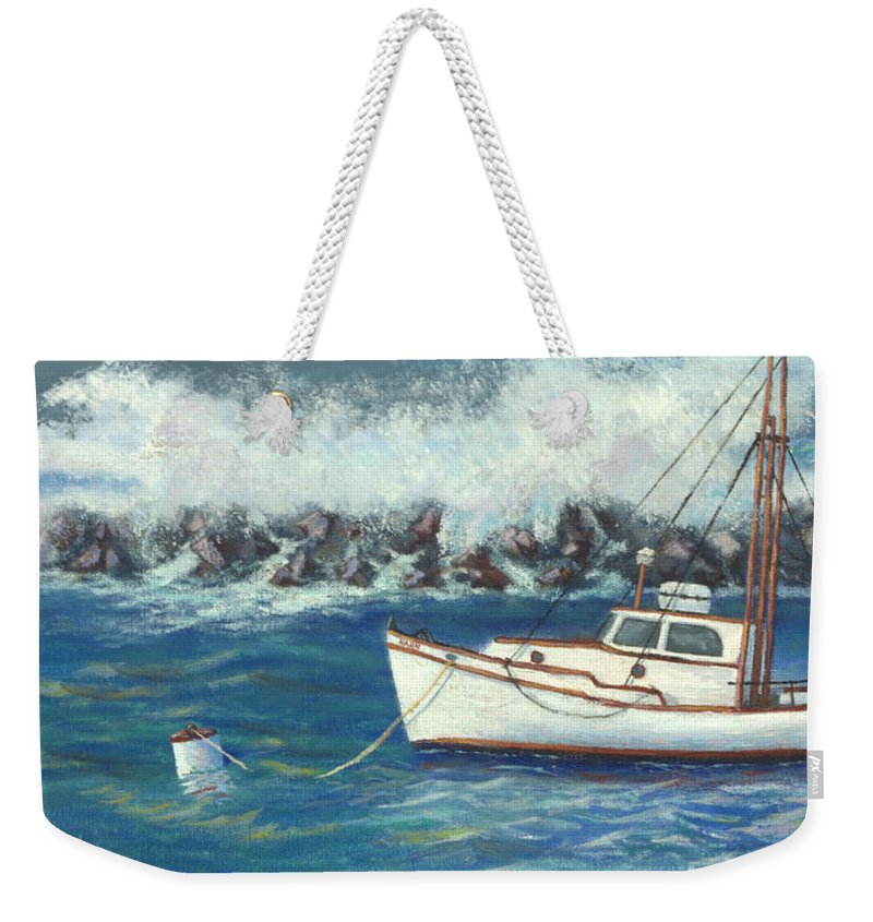 Ocean Weekender Tote Bag featuring the painting Behind The Breakwall by Jerry McElroy