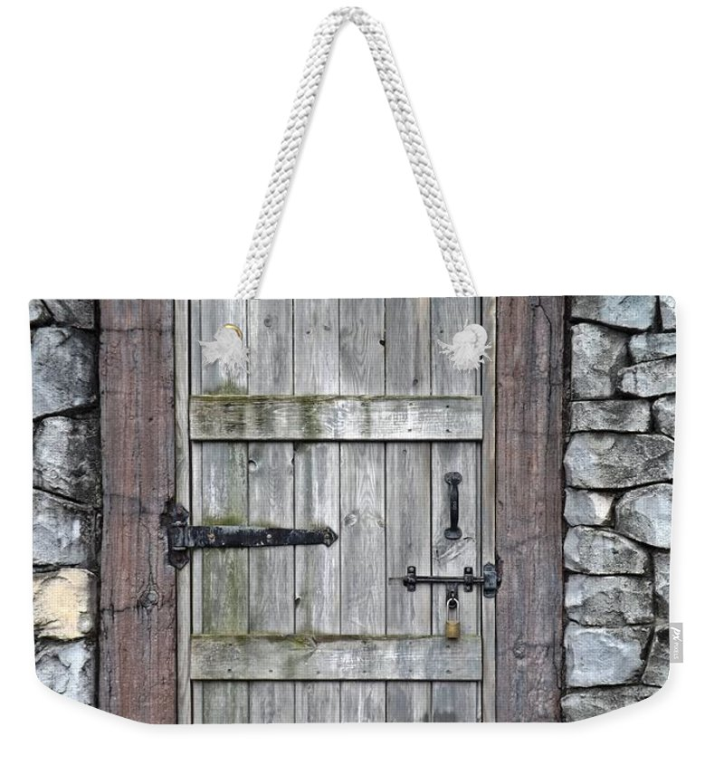 Rustic Weekender Tote Bag featuring the photograph Behind The Door by Sara Raber