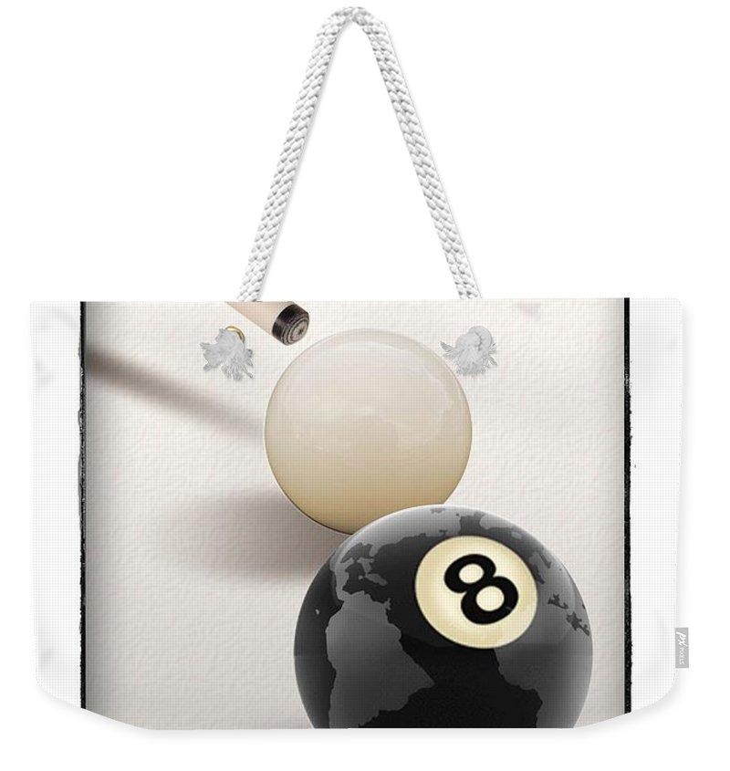 Cue Ball Weekender Tote Bag featuring the digital art Behind The Eight Ball by Chris Van Es