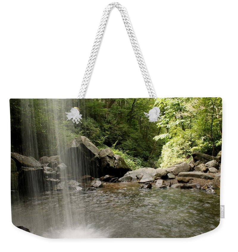 Grotto Falls Weekender Tote Bag featuring the photograph Behind The Falls by Amy Warr