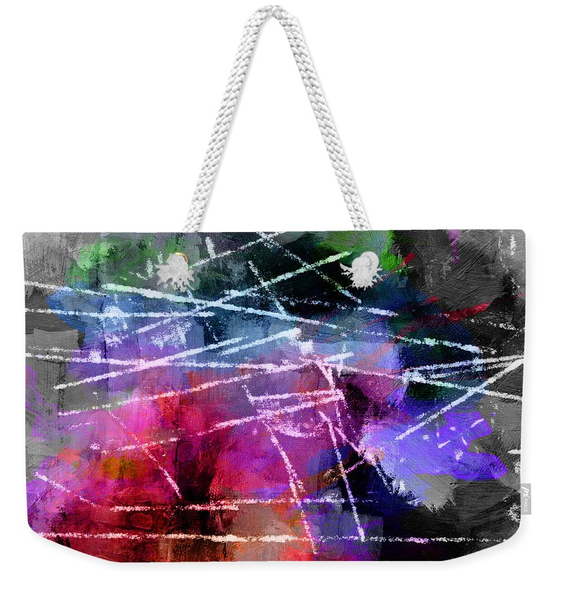 Abstract Expressionism Impressionism Landscape Lines Color Colorful Bw Grey Horizon Weekender Tote Bag featuring the painting Behind The Horizon by Steve K