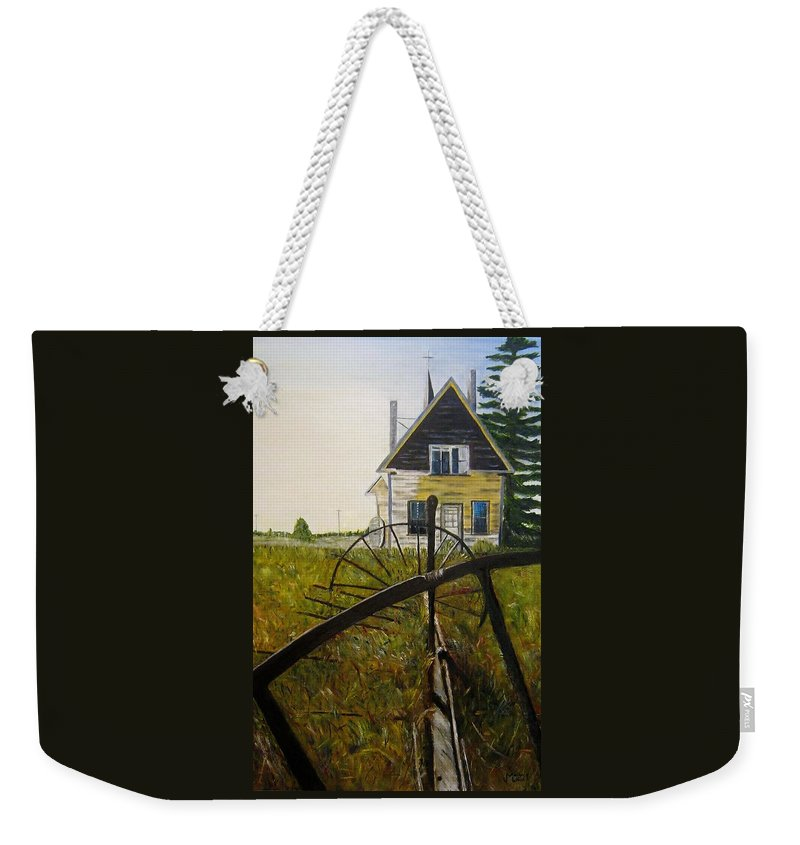 Church Weekender Tote Bag featuring the painting Behind The Old Church by Marilyn McNish