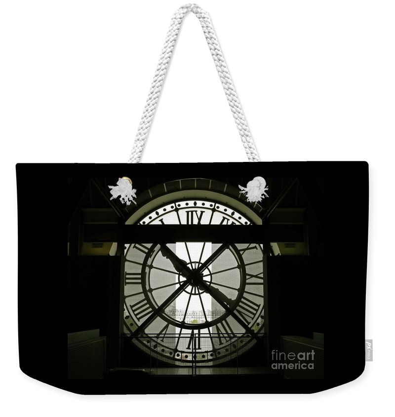 Clock Weekender Tote Bag featuring the photograph Behind Time by Ann Horn