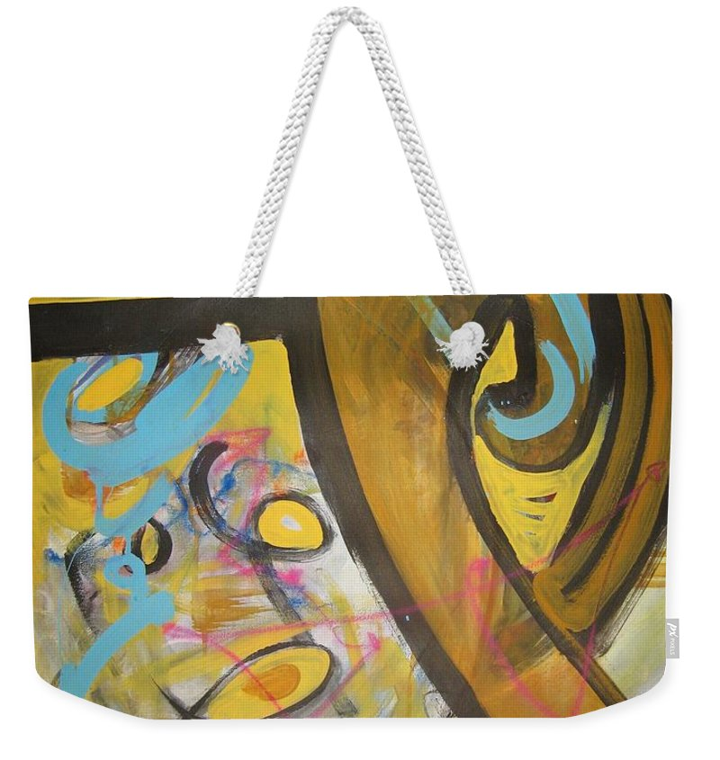 Abstract Weekender Tote Bag featuring the painting Being Easy Original Abstract Colorful Figure Painting For Sale Yellow Umber Blue Pink by Seon-Jeong Kim