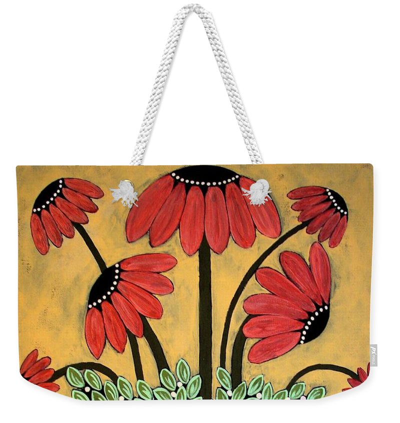 Daisy Weekender Tote Bag featuring the painting Bejeweled by Linda Stewart