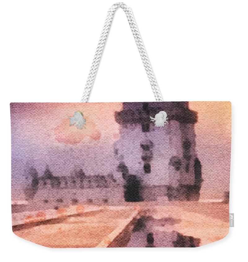 Belem Tower Weekender Tote Bag featuring the painting Belem Tower by Mo T