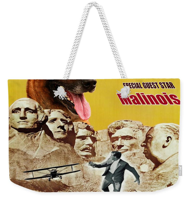 Belgian Malinois Weekender Tote Bag featuring the painting Belgian Malinois Art Canvas Print - North By Northwest Movie Poster by Sandra Sij