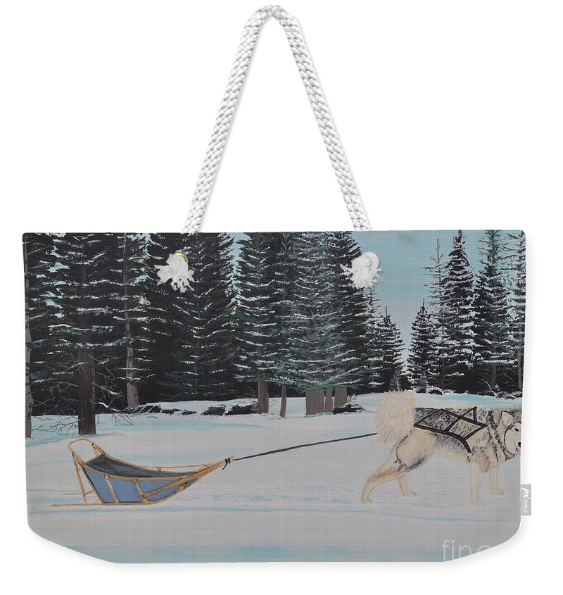Land Scape Weekender Tote Bag featuring the painting Belka by Sally Rice