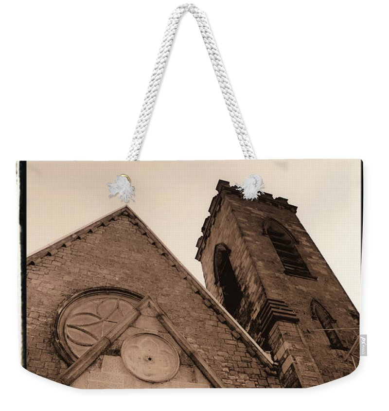 New York Weekender Tote Bag featuring the photograph Bell Tower by Donna Blackhall