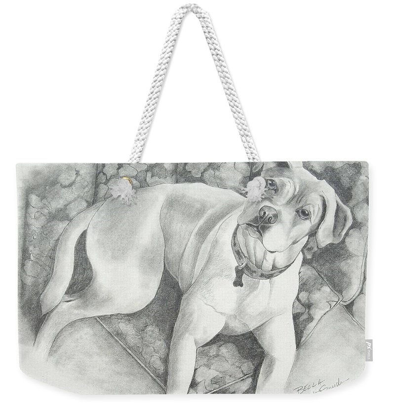 Pet Portraits Weekender Tote Bag featuring the drawing Bella My Pup by Joette Snyder