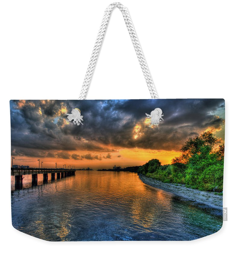 Belle Isle Weekender Tote Bag featuring the photograph Belle Isle Pier Sunset Detroit Mi by A And N Art