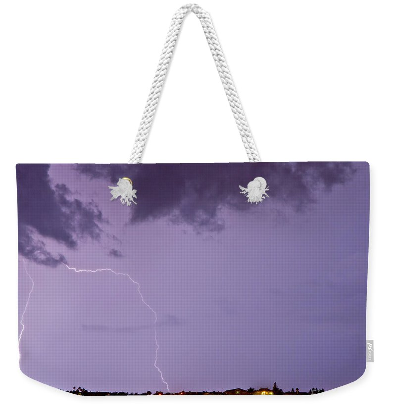 Lightning Weekender Tote Bag featuring the photograph Belleair by Stephen Whalen