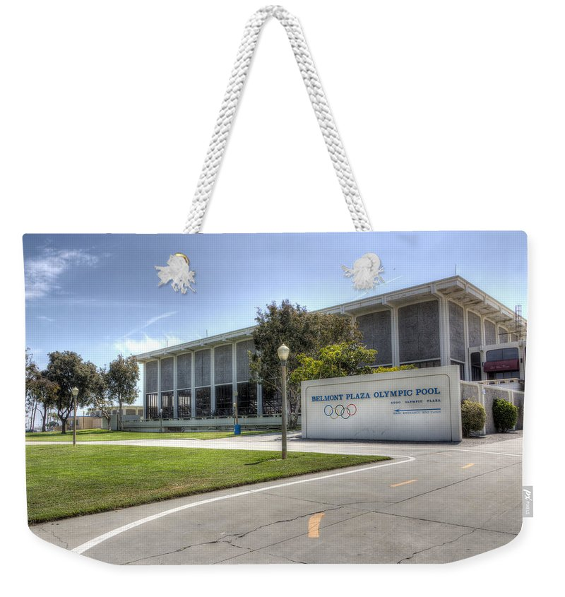 Athlete Weekender Tote Bag featuring the photograph Belmont Plaza Olympic Pool by Heidi Smith