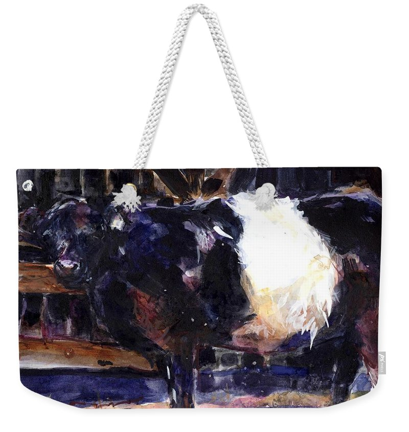 Belted Galloway Weekender Tote Bag featuring the painting Beltie by Molly Poole