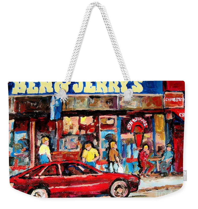 Cafescenes Weekender Tote Bag featuring the painting Ben And Jerrys Ice Cream Parlor by Carole Spandau