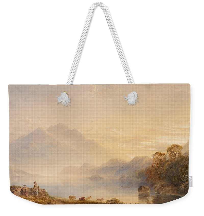 Ben Weekender Tote Bag featuring the painting Ben Venue And The Trossachs Seen From Loch Achray by Anthony Vandyke Copley Fielding