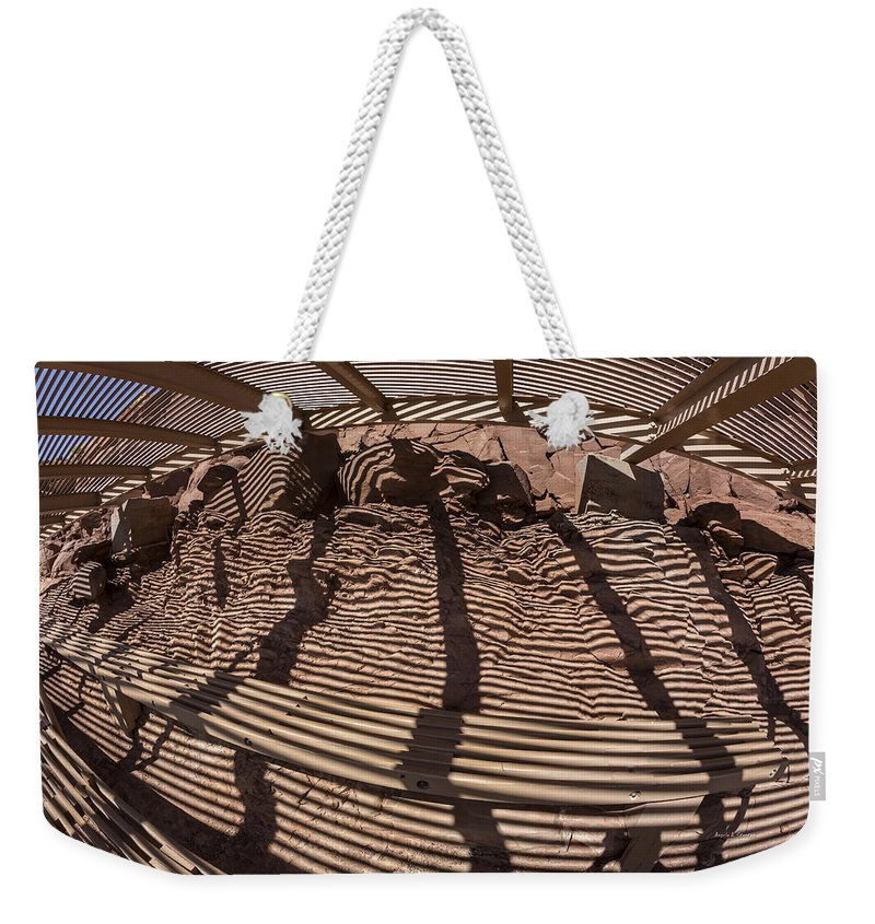 Az Weekender Tote Bag featuring the photograph Benches At Meteor Crater In Arizona by Angela Stanton