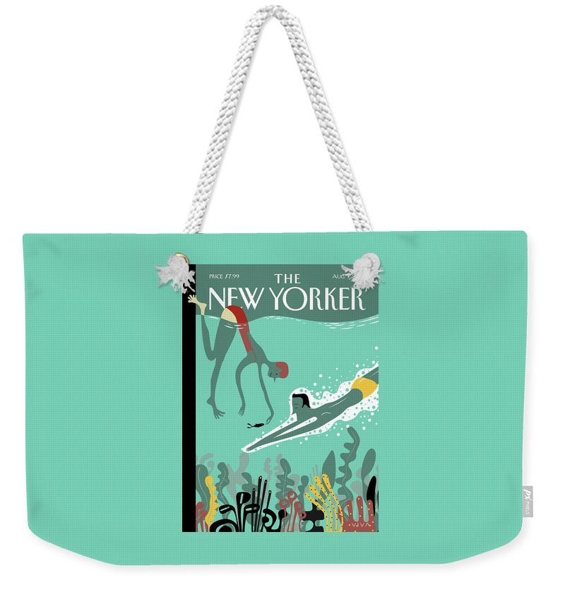 Beneath The Waves Weekender Tote Bag featuring the painting Beneath The Waves by Frank Viva