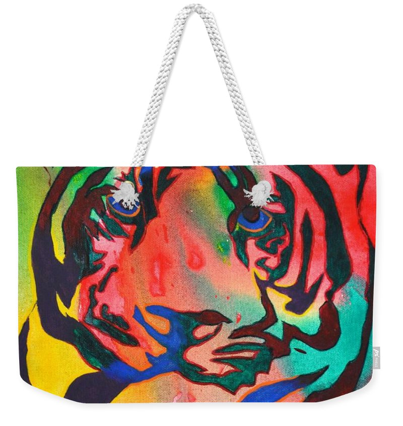Bengal Tiger Weekender Tote Bag featuring the painting Bengal by Heather Hancock