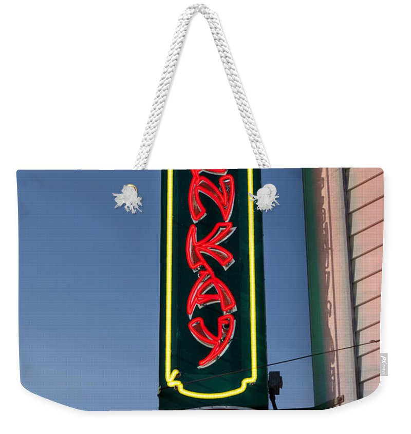 Sign Weekender Tote Bag featuring the photograph Benkay Sushi by Jerry Fornarotto