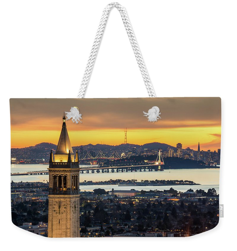 San Francisco Weekender Tote Bag featuring the photograph Berkeley Campanile With Bay Bridge And by Chao Photography
