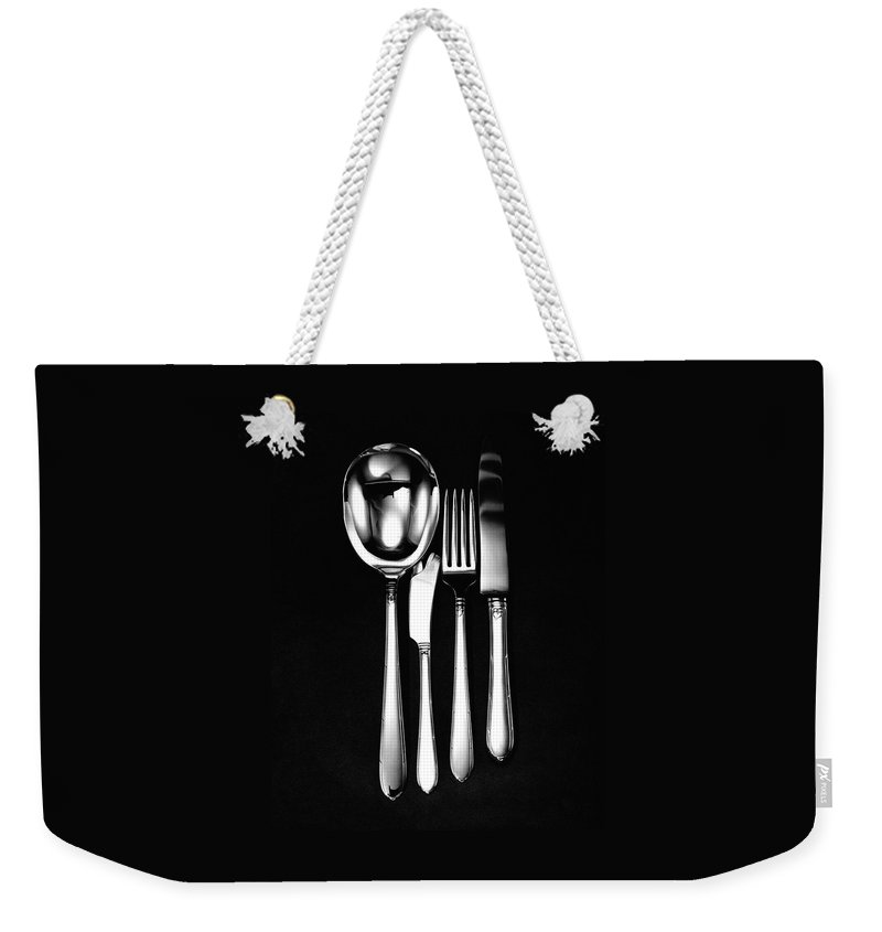 Home Accessories Weekender Tote Bag featuring the photograph Berkeley Square Silverware by Martin Bruehl
