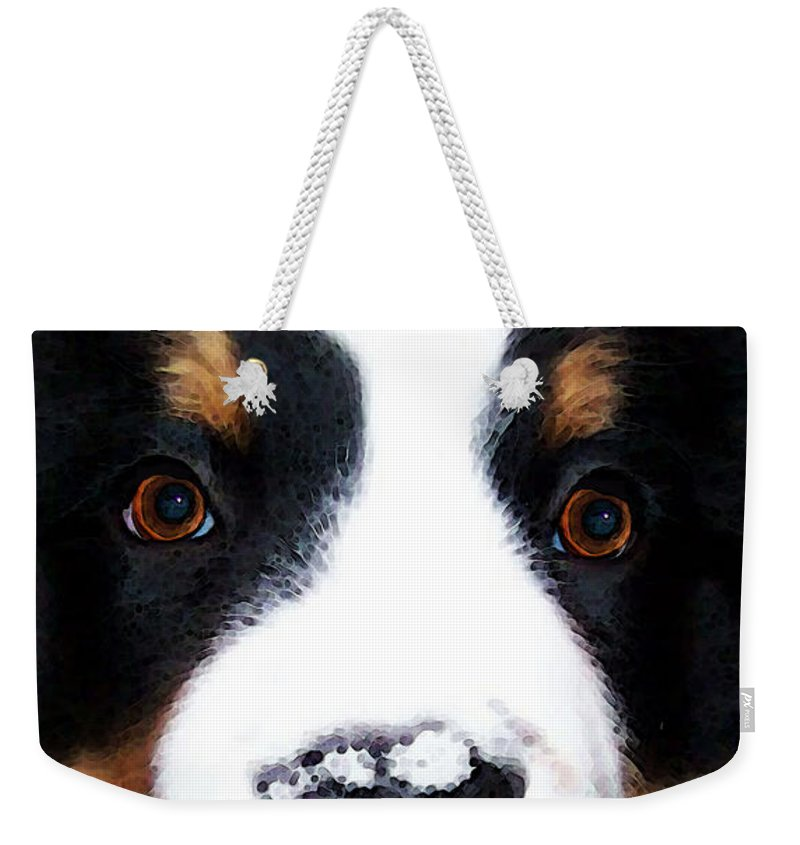 Bernese Mountain Dog Weekender Tote Bag featuring the painting Bernese Mountain Dog - Baby It's Cold Outside by Sharon Cummings