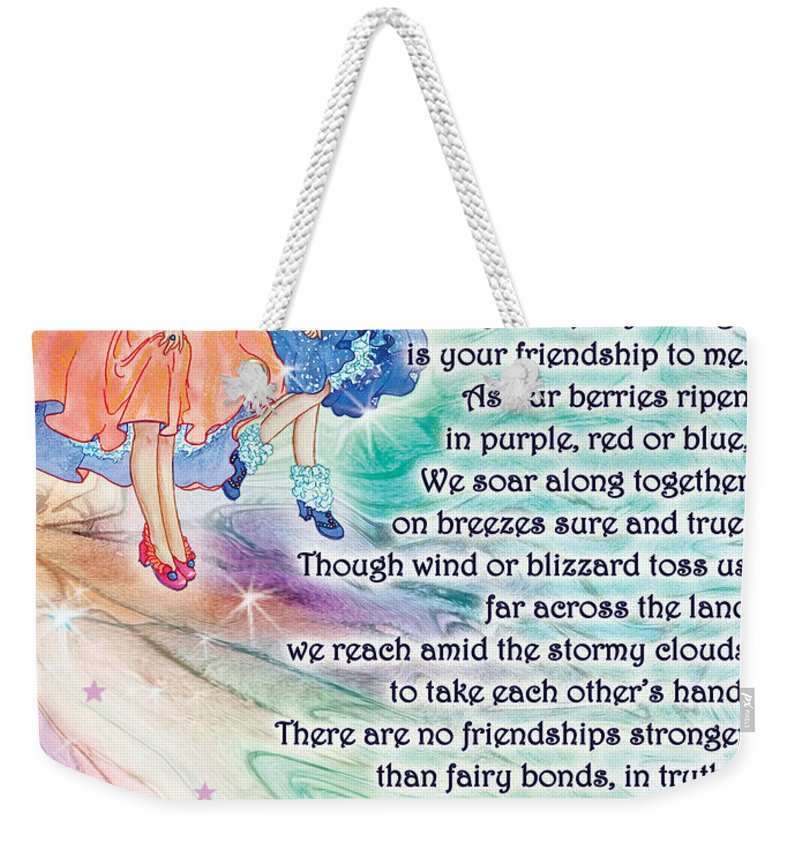 Poetry Weekender Tote Bag featuring the painting Berry Fairy Friends Poem by Teresa Ascone