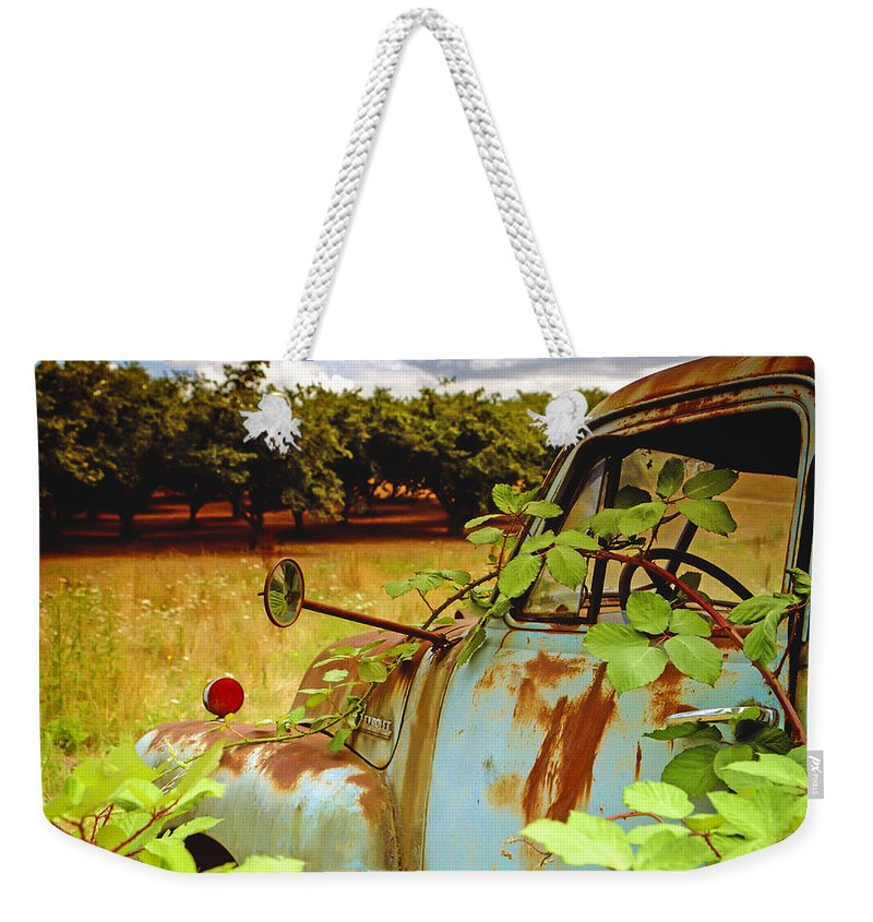 Jean Noren Weekender Tote Bag featuring the photograph Berry Old Truck 2 by Jean Noren
