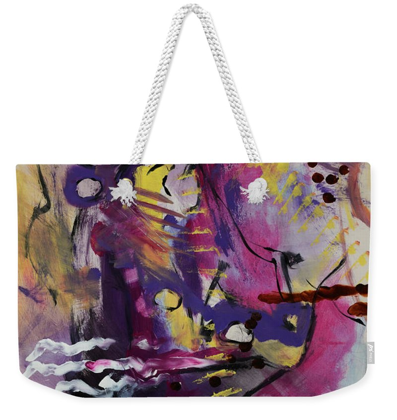 Pink Weekender Tote Bag featuring the painting Violet Dawn by Yvonne Magee