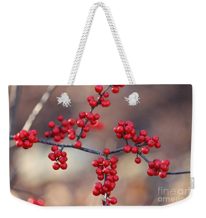Red Weekender Tote Bag featuring the photograph Berry Sparkles by Ulli Karner