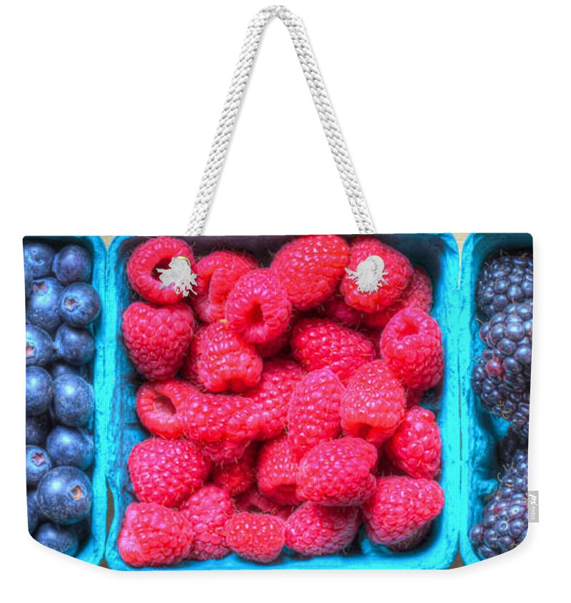 Abstract Weekender Tote Bag featuring the photograph Berry Trio by Heidi Smith