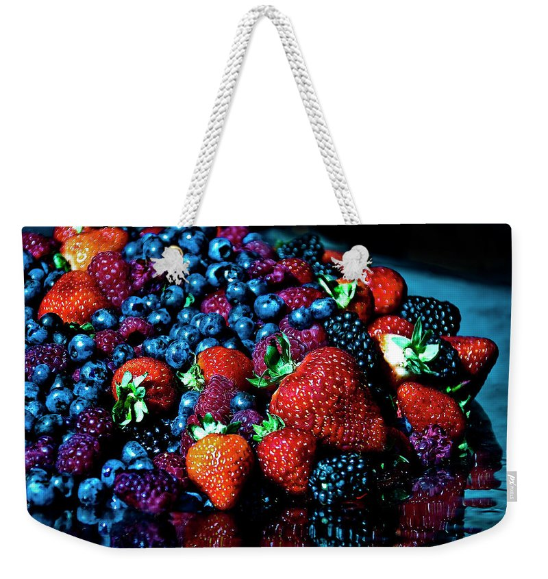 Serving Dish Weekender Tote Bag featuring the photograph Berrylicious by Daniela White Images
