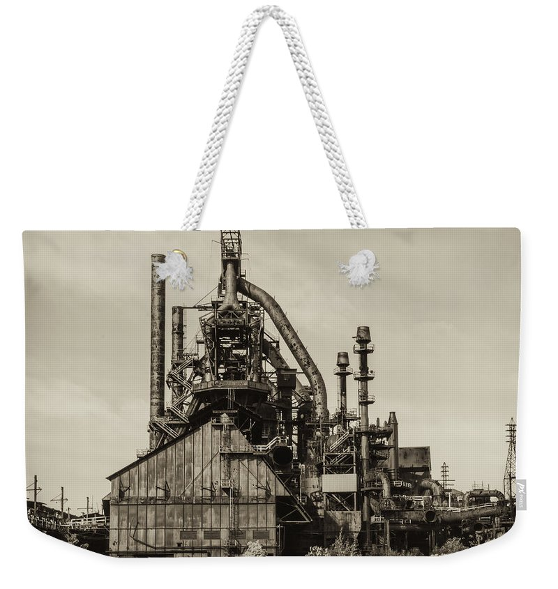 Steel Weekender Tote Bag featuring the photograph Bethlehem Pa Steel Plant  by Bill Cannon