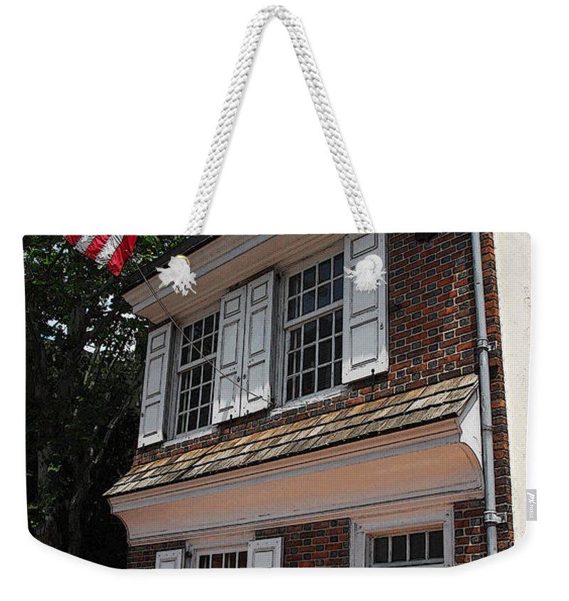 Philadelphia Weekender Tote Bag featuring the photograph Betsy Ross House by Cindy Manero