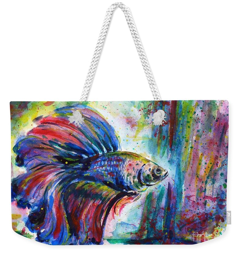 Betta Weekender Tote Bag featuring the painting Betta by Zaira Dzhaubaeva