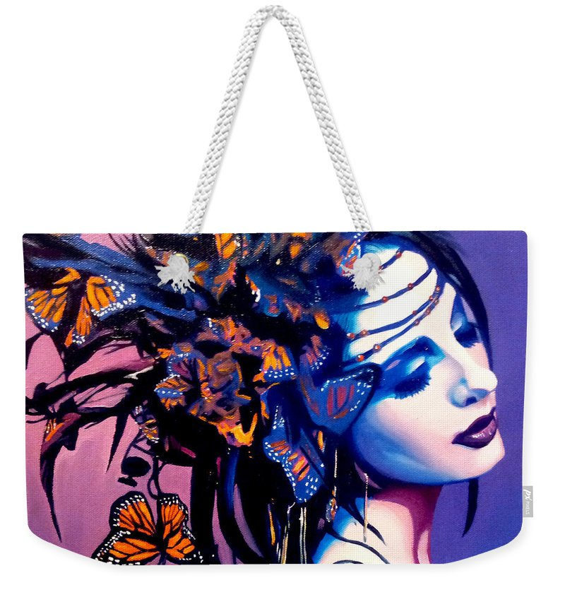 Butterflies Weekender Tote Bag featuring the painting Betty by Jose Manuel Abraham
